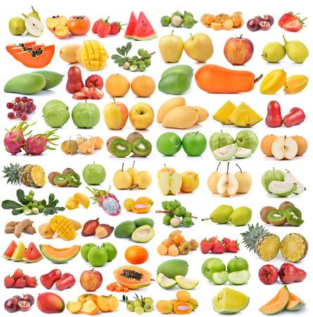 set of fruit isolated on white background photo