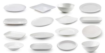 白いセラミックス プレートとボウルは、白い背景で隔離 写真素材