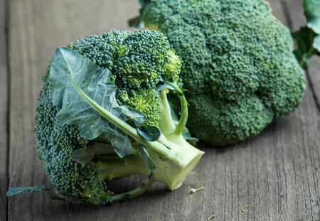 Broccoli on old wooden photo