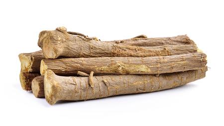 白い背景に分離したスペインカンゾウの根 写真素材