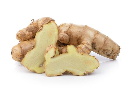 peppery: white turmeric on white background