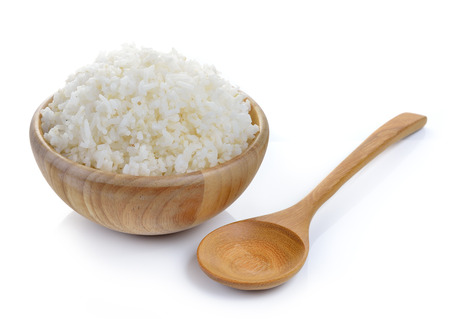 white rice: rice in wood bowl on white background