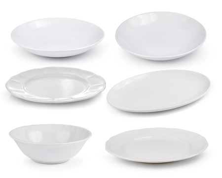 empty white plates on a white background Zdjęcie Seryjne - 41669185
