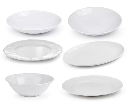 empty white plates on a white background