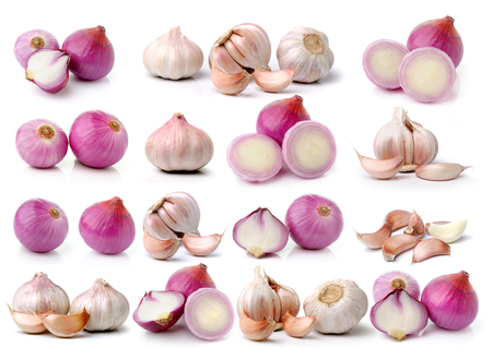 garlic and onions on white background