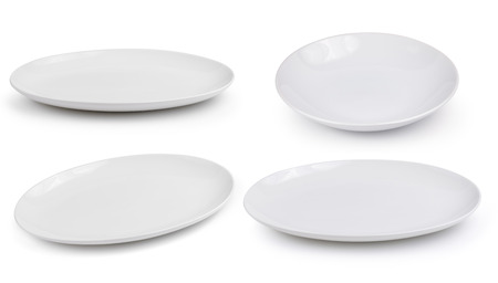 empty white plates on a white background Stok Fotoğraf - 42088100