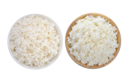 rice in a white bowl and wood bowl on white background