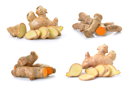 ginger and turmeric on white background 免版税图像