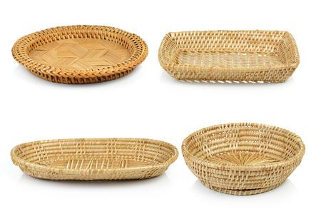 basket: vintage weave wicker basket isolated on white background Stock Photo