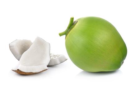 cocotier: noix de coco sur fond blanc Banque d'images