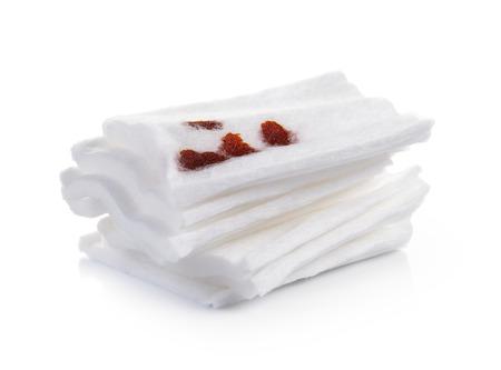 white bandage: Cotton bandage on white background Stock Photo