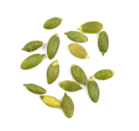 sunflower seeds: pumpkin seeds on white background