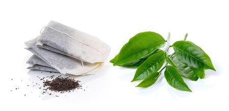 Teabag and tea Isolated on white background