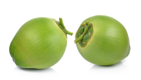 Green coconuts on white background Stockfoto