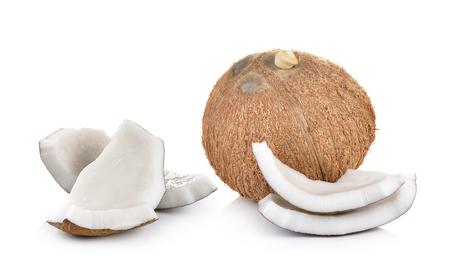 coco: de coco sobre un fondo blanco Foto de archivo