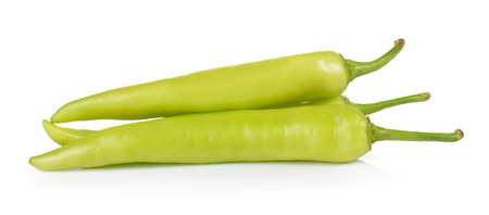 capsaicin: Green peppers isolated on white background Stock Photo