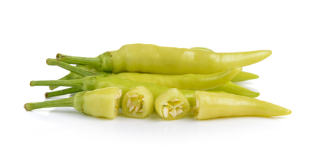 capsicum plant: Green peppers isolated on white background Stock Photo