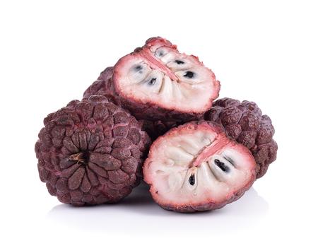 custard apples: Purple custard apples on white background Stock Photo