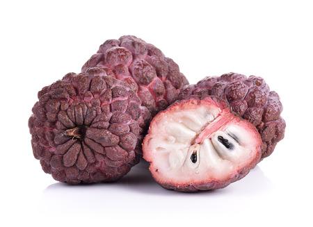 sweetsop: Purple custard apple on white background Stock Photo