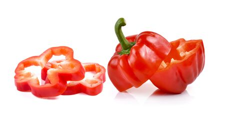 bell peper: red peppers over white background Stock Photo