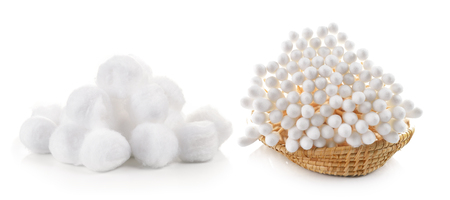 cotton wool: cotton bud and cotton wool in the basket on white background