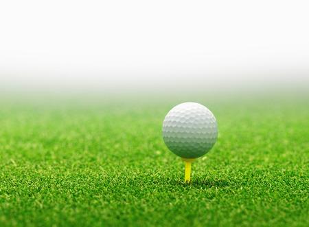 golf course: Golf ball on tee Stock Photo