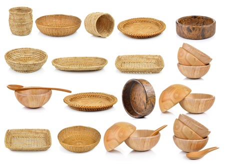 wooden basket: wood bowl and vintage weave wicker basket isolated on white background