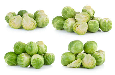 brussel: Group of Brussel Sprouts isolated on white background Stock Photo