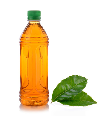 bottle of ice tea and green tea on white background Stock Photo