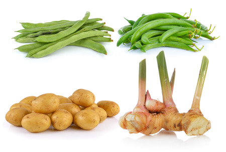galangal: galangal, potato, beans on white background