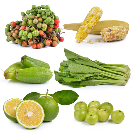 indian mustard: sweet orange, Indian gooseberries, Bilimbi (Averhoa bilimbi Linn.), waxy corn, Chinese mustard, Spondias lakhonensis on white background