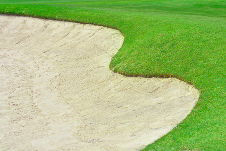 bunker: bunker and putting green Stock Photo