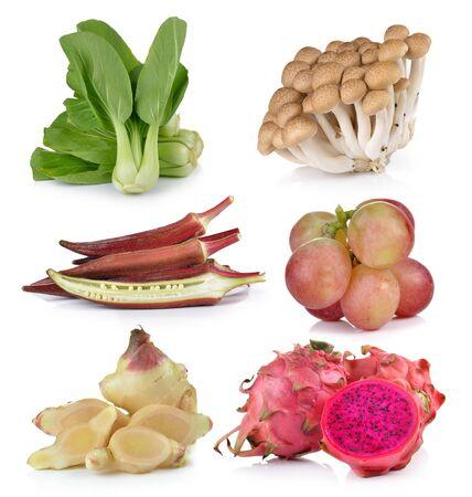 bok choy: Bok choy,roselle, grapeginger, dragon fruit , mushrooms on white background