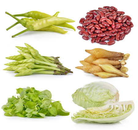 moonflower: spinach, Cabbage, Moonflower, red beans, Fingerroot, chili on white background