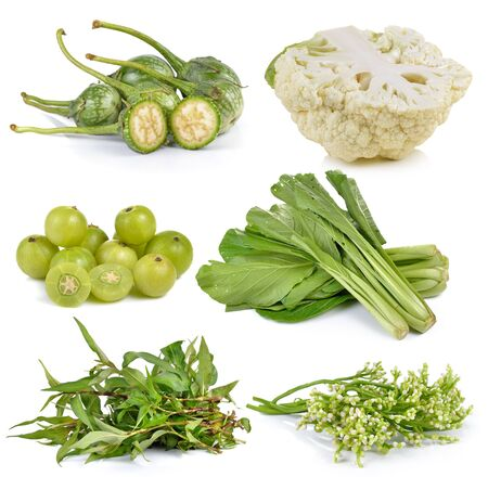 indian mustard: Indian gooseberries, Ceylon Spinach, Vietnamese mint, cauliflower, Chinese mustard, eggplant on white background