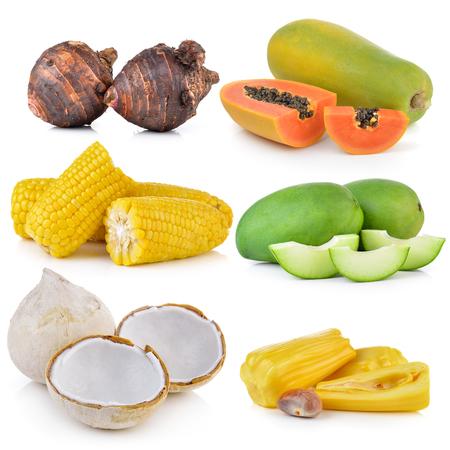 jack fruit: boil coconut, green mango, corn, jack fruit,  taro roots, papaya on white background Stock Photo