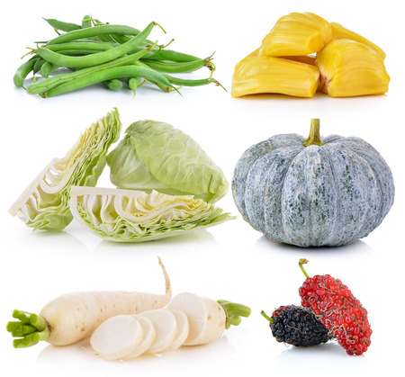 jack fruit: Daikon radishes, jack fruit, pumpkin, Mulberry, cabbage, Green beans on white background