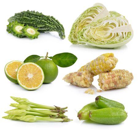 bitter orange: Moonflower, Bilimbi, sweet orange, waxy corn,  Cabbage, Bitter melon on white background
