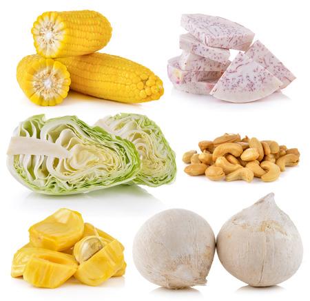 jack fruit: taro, cabbage, coconut, jack fruit, Cashews, corn on white background Stock Photo