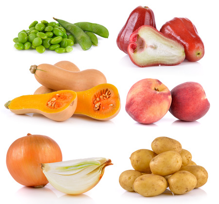 butternut squash: onion, Peach, potato, rose apple, butternut squash,  soy beans on white background Stock Photo
