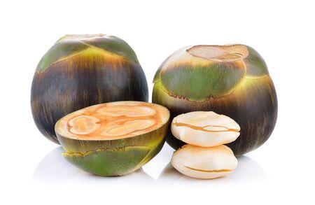asian palmyra palm: Asian Palmyra palm, Toddy palm, Sugar palm on white background Stock Photo