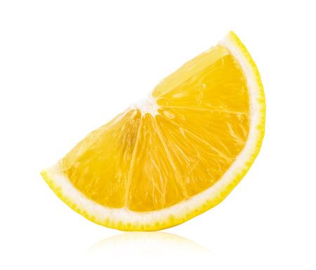 白い背景に分離されたレモン スライス 写真素材