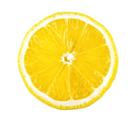 tranche de citron isolé sur fond blanc
