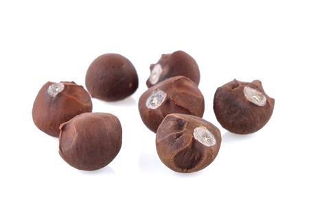 tea seeds on white background