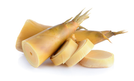 Bamboo shoots on white background