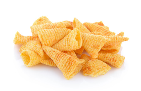 Crunchy corn snacks on a white background Stock Photo