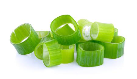 onion slice: green onion slice on white background