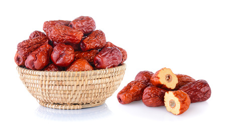 Dried red date or Chinese jujube on white background Banque d'images