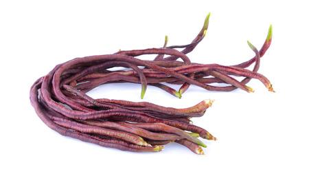long bean: red long bean on white background