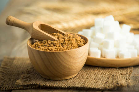 coconut palm sugar: coconut palm sugar against an out of focus